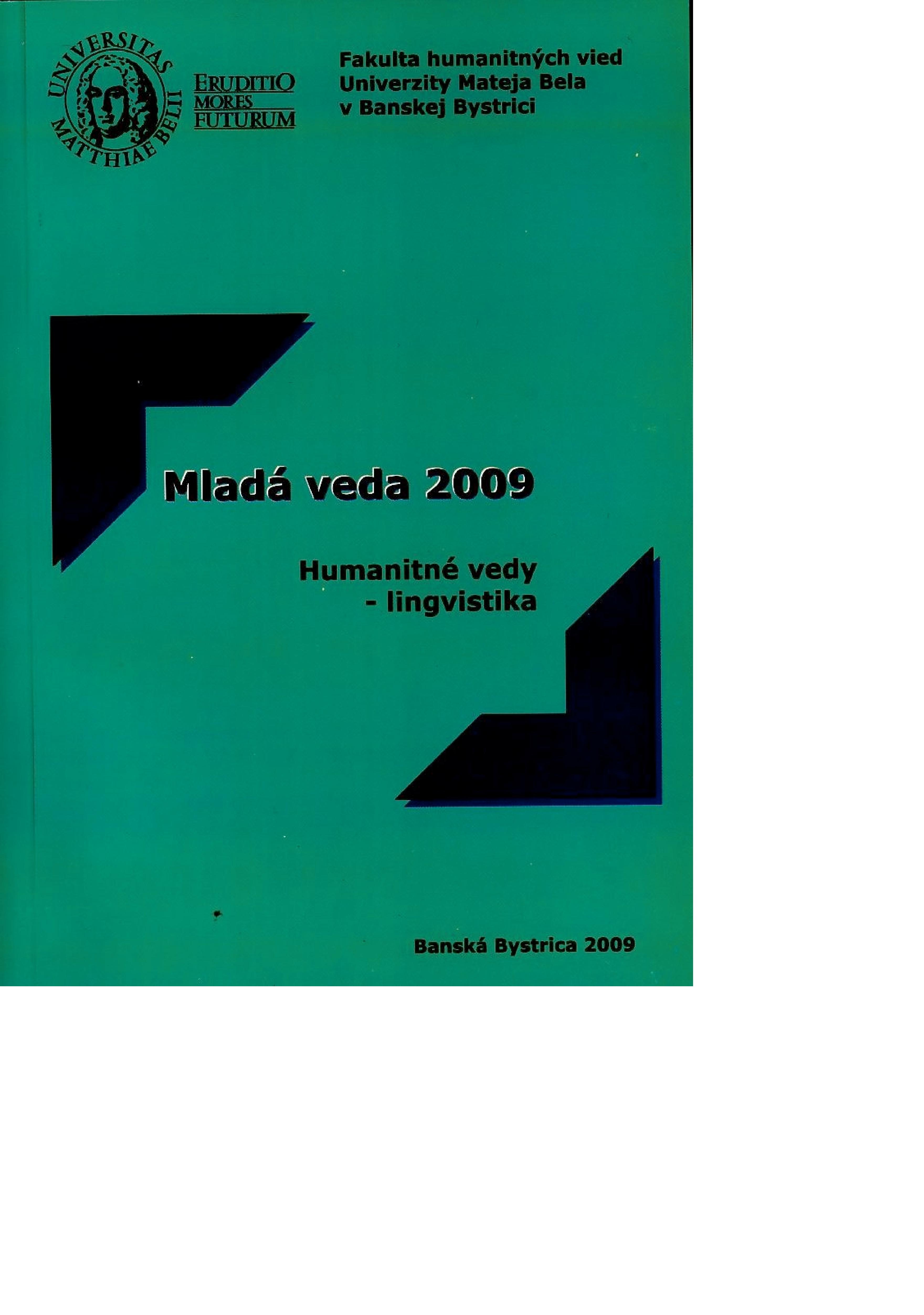 Mladá veda 2009. Humanitné veddy - lingvistika