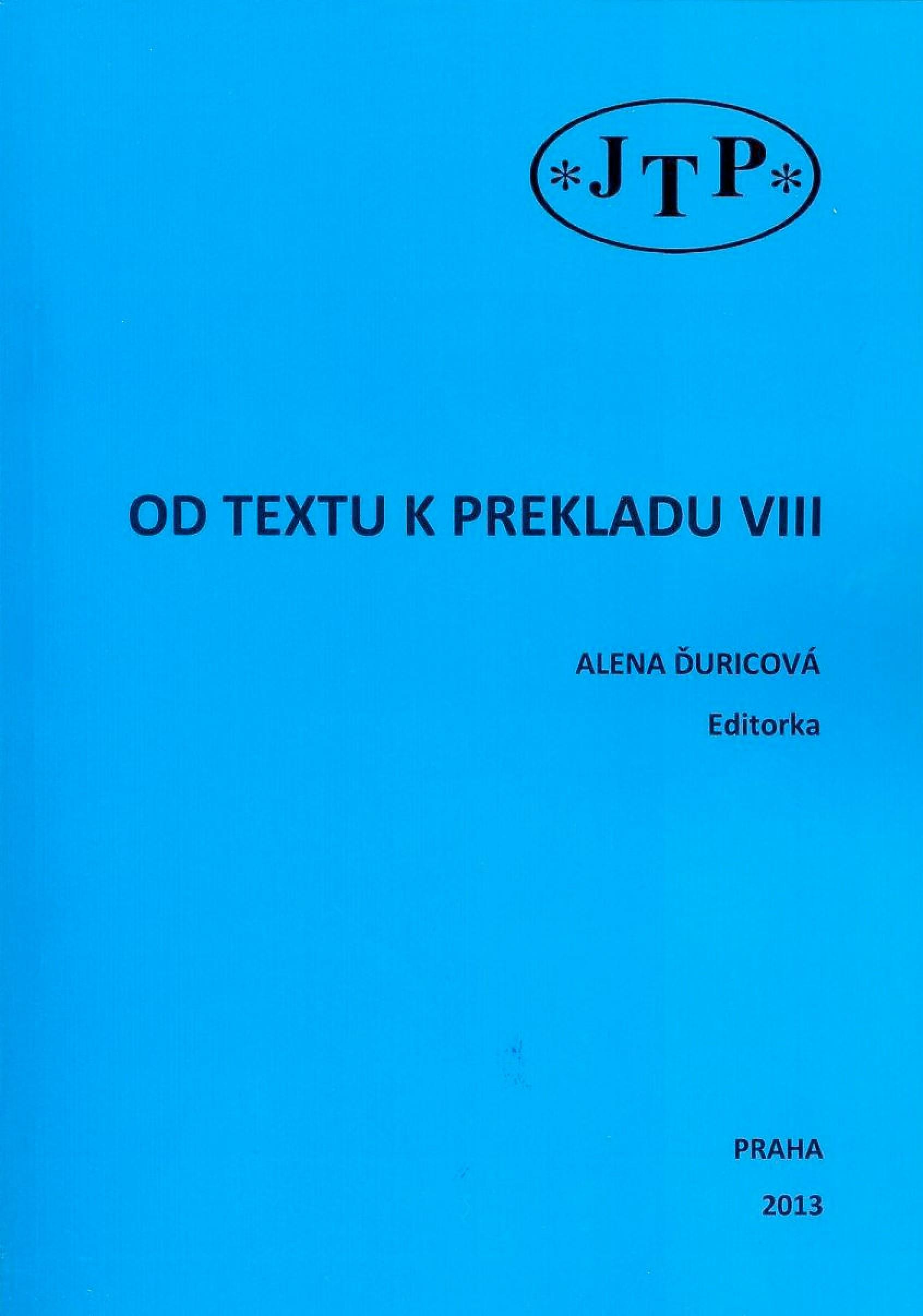 Od textu k prekladu VIII