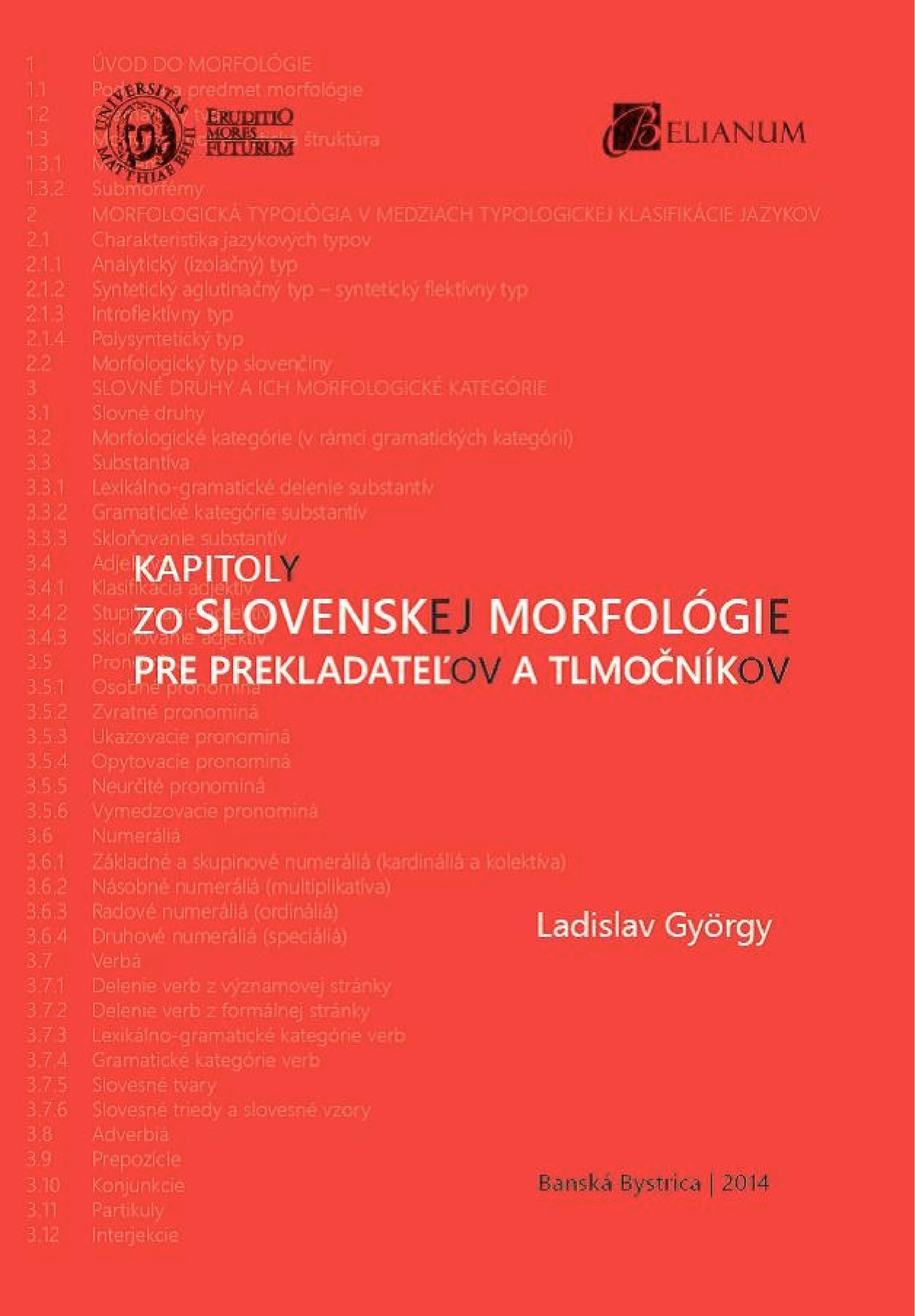 Kapitoly zo slovenskej morfológie pre prekladateľov a tlmočníkov