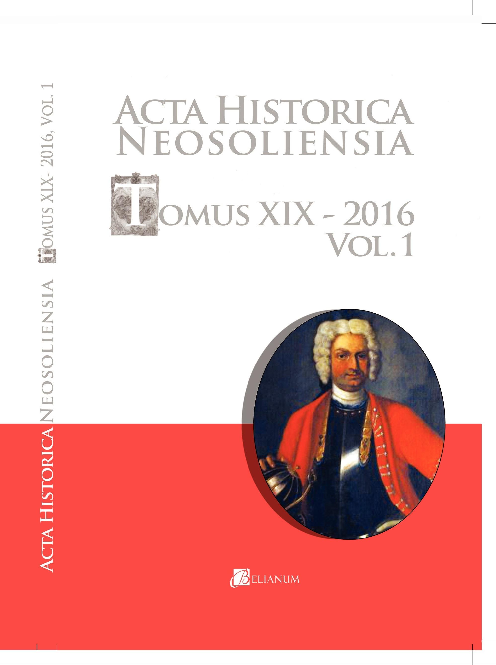 Acta historica neosoliensia, Tomus XIX - 2016, Vol. 1