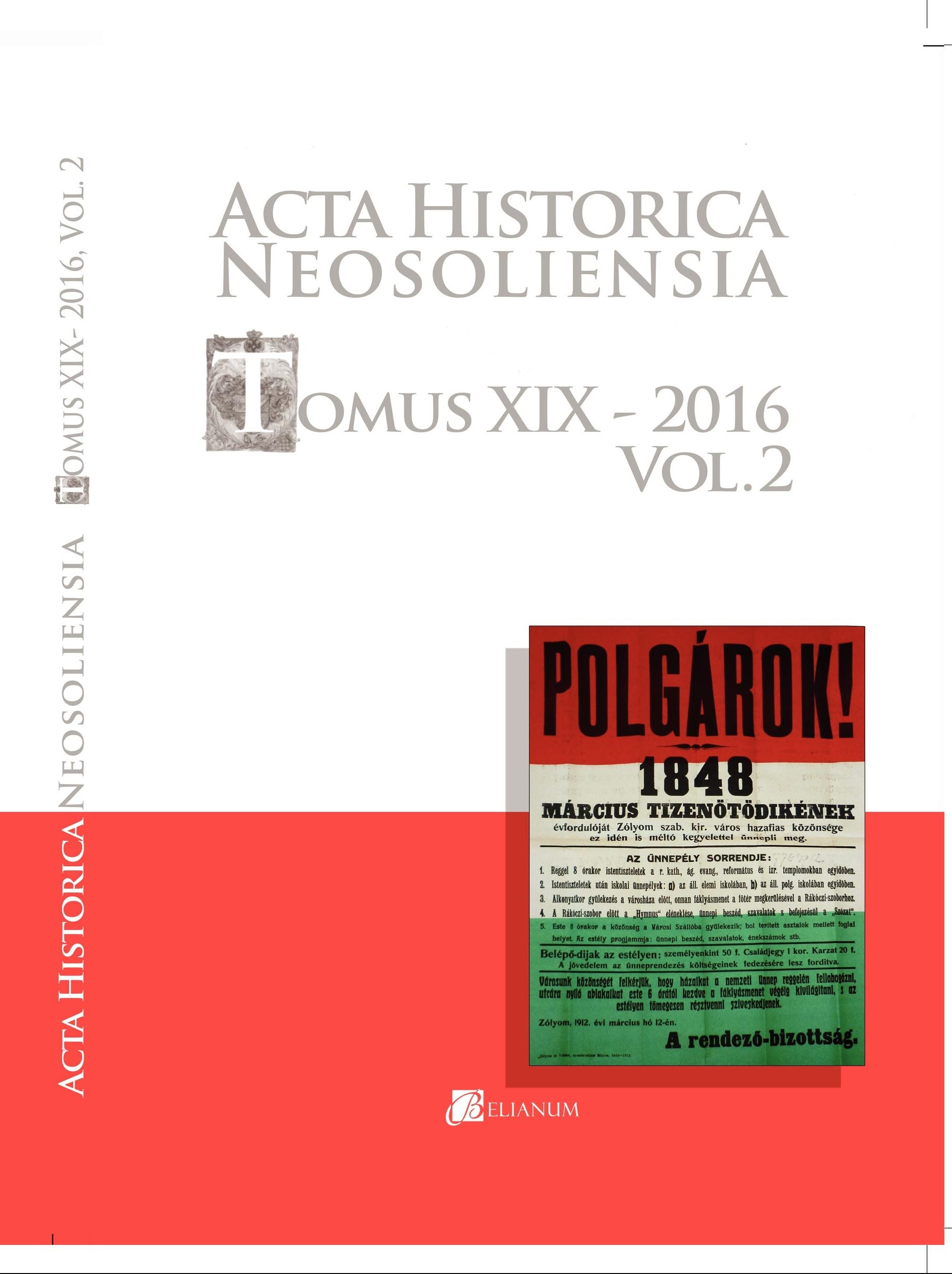 Acta historica neosoliensia, Tomus XIX - 2016, Vol. 2