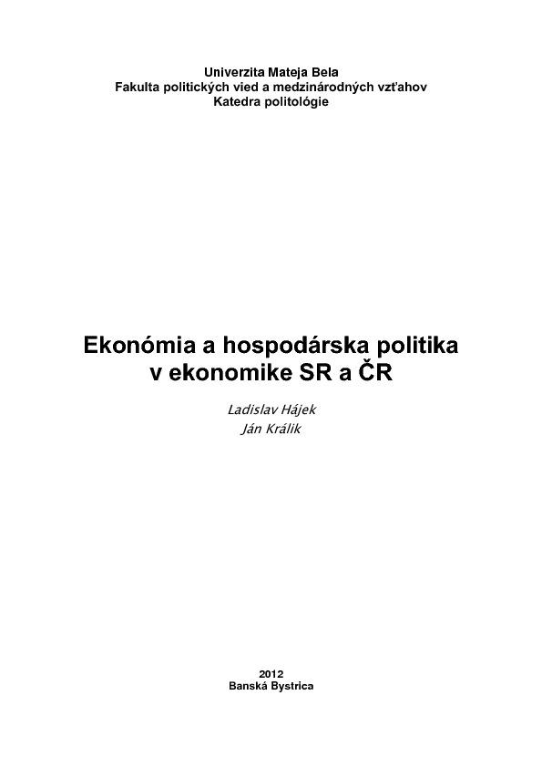 Ekonómia a hospodárska politika v ekonomike SR a ČR